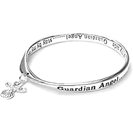 Equilibrium Rose Gold /& Silver Plated Bangle Gift Card Guardian Angel for Mum