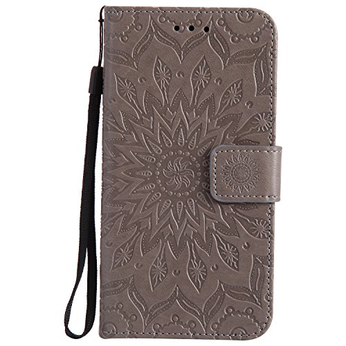 Dfly-US P8 Lite 2017 Case, Premium PU Leather Embossed Mandala Design with Kickstand Function Card Slots & Wrist Strap Protective Flip Slim Wallet Cover for Huawei P8 Lite 2017, Grey
