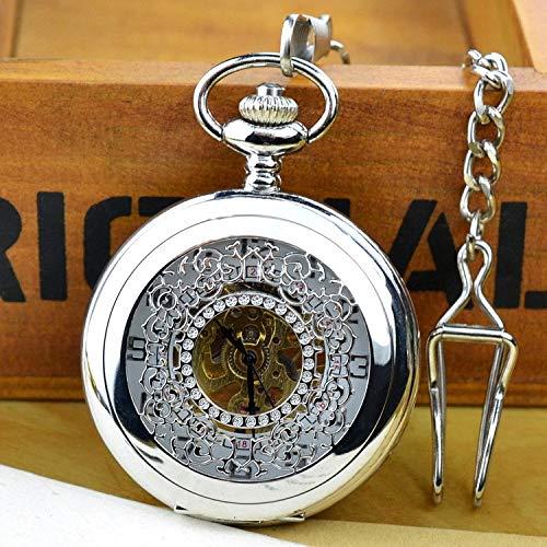 Hohl große Blumen mechanische Taschenuhr Flip Retro männliche Dame Antique Gift Pocket Watch