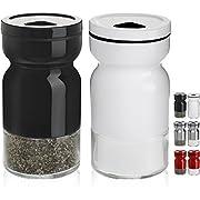 CHEFVANTAGE Salz- und Pfefferstreuer-Set mit verstellbaren Ausgießlöchern, Schwarz und Weiß