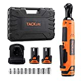 TACKLIFE Cordless Electric Ratchet Wrench 3/8' 45 Ft-lbs Li-Ion Batteries 60-Min Fast Charge Power Ratchet Wrench Tool Kit with 10 Sockets Variable Speed Trigger LED Light for Tight Space Use PRW01A