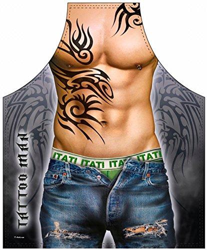 Grill - Koch Schürze - Muskulöser Mann mit Tattoos