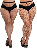 HZH Womens High Waist Tights Fishnet Stockings Plus Size Thigh High Pantyhose(Large+S/M Gride,2 Pairs)