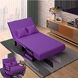 QiHaoHeji Sofá cama plegable portátil multifunción sofá cama cama ajustable cama de invitados portátil fácil de plegar ocio reclinable sofá (color: morado, tamaño: 100 x 195 x 26 cm)