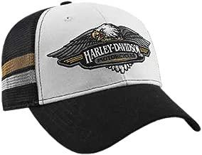 HARLEY-DAVIDSON Mens Embroidered Vintage Logo Baseball Cap, Black/White BCC28988