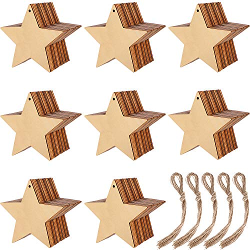 Blulu 100 Pieces Christmas Wooden Ornaments Round Wood Slices Wood Snowflake Angel Star Shape Christmas Tree Hanging Embellishments with 100 Pieces Cords (Style 2)