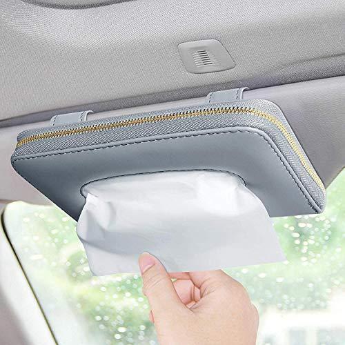 Car Tissue Box, Car Visor Tissue Holder, Car Tissue Holder, Premium Tissue case Holder for car (Gray)