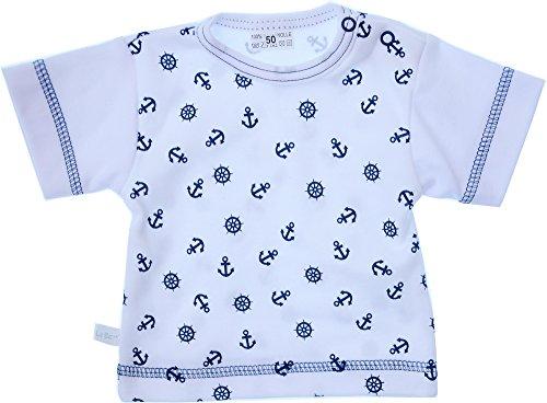 T-Shirt Baby Kinder Shirt 50 56 62 68 74 80 86 92 98 104 Weiß mit Anker mit Druckknöpfe (74)