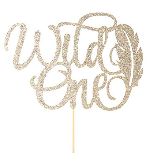 1st Birthday Cake Topper Decoration - Wild One Party Theme Cake Topper - Smash Cake Decor,Photo Booth Props - First Birthday Decor For Baby - One Year Old Wild One Cake Inserted Flag (Wild One)