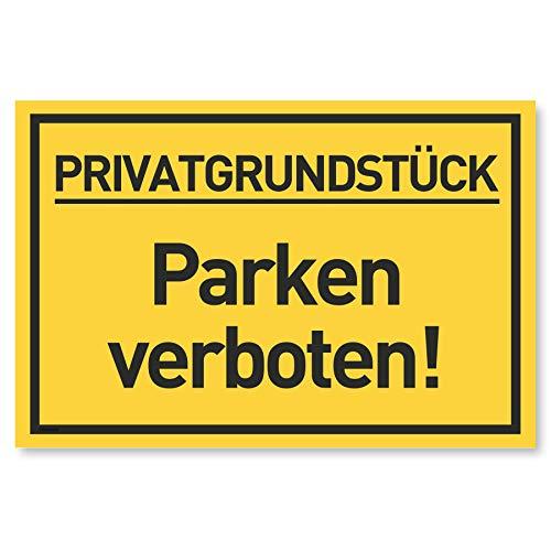 Privatgrundstück Parken Verboten Schild (30x20 cm Kunststoff) - Klares Zeichen für Parkverbot - Privatparkplatz Schilder - Parkplatz Schild Privat - Parken Verboten (Gelb)