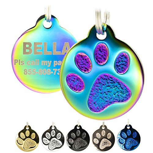 Engraved Pet Tag for Dogs and Cats - Personalized Front & Back up to 8 Lines of Text Custom Engraved ID, Round Paw Print Solid Plating Stainless Steel in 5 colors: Gold, Rose Gold, Blue, Black, Nebula