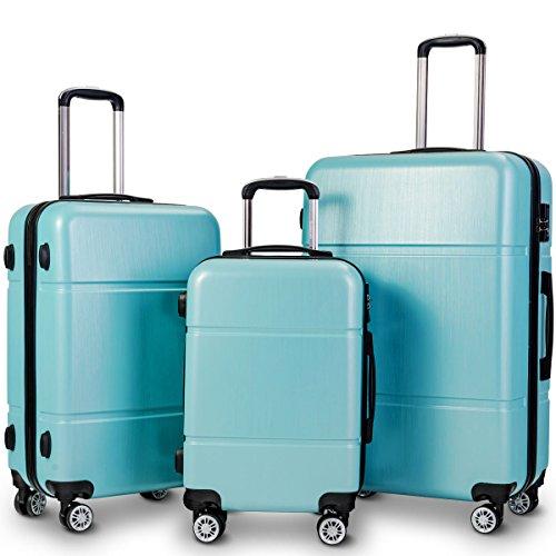Goplus Luggage 3 Pieces Expandable Luggage Sets (20/24/28), PC+ABS Lightweight Hardshell Suitcase w/TSA Lock Spinner Set (Light Blue)