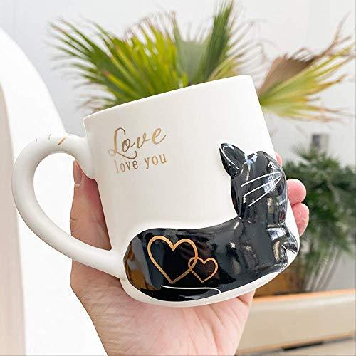 MEIMING1314 Jarra,Taza de café,En Relieve 3D Tridimensional Gato De Cerámica,para Té Beber Desayuno Leche Oficina Niño Regalo 420ML A2