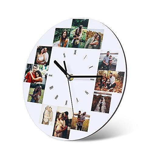 Wanduhren Personalisierte Foto Wanduhr mit 12 Bildern Benutzerdefiniert Wanduhren für Familie Mutter Geburtstag Hochzeitstage Dekorative Geschenk