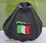 Schaltsack aus Leder, Schwarz, Edition mit italienischer Flagge