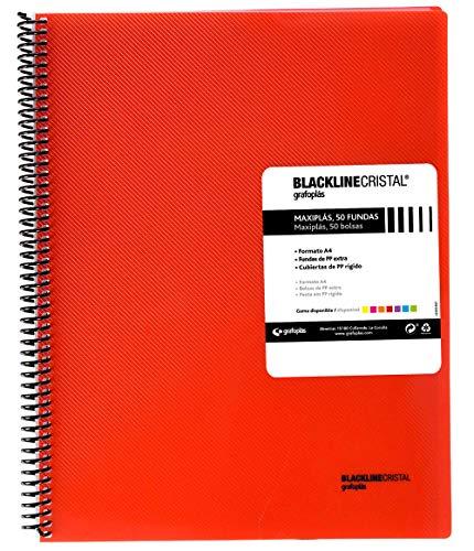 Grafoplás 39835251 Carpeta Fundas Espiral, 50 Fundas, Tapas Polipropileno Rayado, A4, Color Rojo, Maxiplás Blackline Cristal