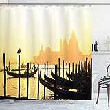 ABAKUHAUS Venedig Duschvorhang, Romantische Stadt bei Sonnenaufgang, mit 12 Ringe Set Wasserdicht Stielvoll Modern Farbfest & Schimmel Resistent, 175x180 cm, Senf Schwarz