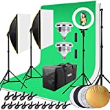 HAKUTATZ® Profi Fotostudio Set Studiosets Hintergrundsystem Greenscreen Softbox Ringlicht mit...