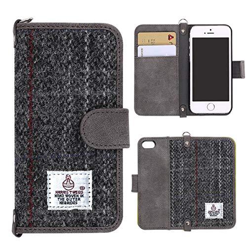 MONOJOY Harris Tweed iPhone SE 5/5s Mappen Hülle Premium Stoffe und Kunstleder Schlag Mappen 100%...