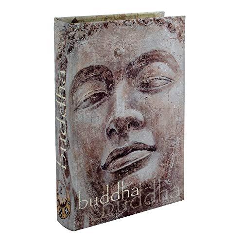 BY SIGRIS Signes Grimalt Libros Decorativos | Caja Libro de Madera - Diseño Buddha, 26x5x17 cm