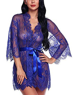 Ababoon Women's White Floral Lace Kimonos Robe Babydoll Lingerie Swimwear Beach Cover up
