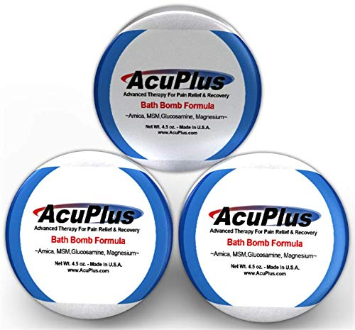 AcuPlus Pain Relief Bath Bomb Formula - Advanced Therapy For Pain Relief & Recovery from Bursitis, Arthritis, Tendonitis, Muscle Aches, and Body Pain (4.5 ounces)