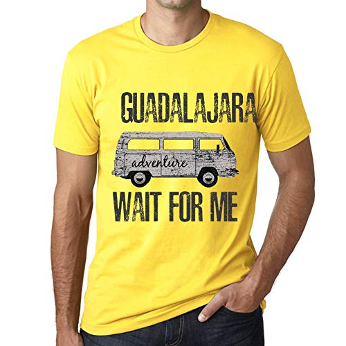 One in the City Hombre Camiseta Vintage T-Shirt Gráfico Guadalajara Wait For Me Amarillo