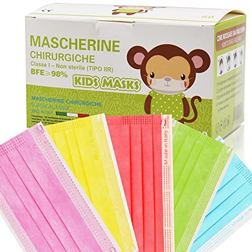 50 Stück medizinische Masken Kinder,OP Masken Kinder CE zertifiziert und atmungsaktiv(typ iiR),3-lagige Mundbedeckung,Bunte Einweg-Masken,Mund-Nasen-Masken geeignet als Kindermasken