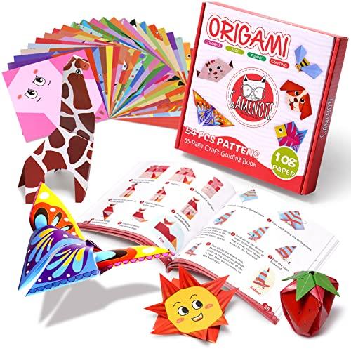 Gamenote color kit de origami para niños 108 archivo de origami vívido de doble cara 55 páginas que enseña libro de origami, adecuado para niños / clase de manualidades escolares