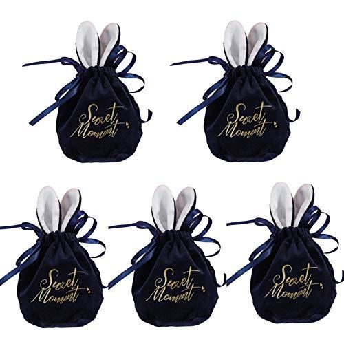 Freedomanoth Osterhasen Geschenktüten, 5 Stück Stoff Säckchen mit Kordelzug, Für Hochzeit Party Mitbringsel und DIY Handwerk