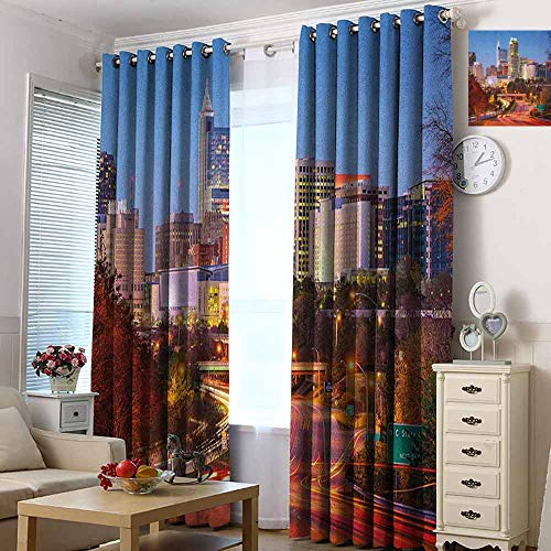 hengshu United States 99% Blackout Curtains Raleigh North Carolina USA Express Way Business District Building Skyscrapers for Bedroom, Kindergarten, Living Room W72 x L96 Inch Multicolor