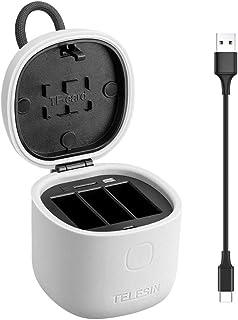TELESIN Cargador de Batería para GoPro Hero 7 6 5 Black Cargador de 3 Canales (Prueba de Agua) con Lector Tarjeta de Memoria SD y Cable USB Tipo C (Solo Cargador)