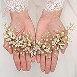 Handcess Diadema de cristal para novia de boda, con diseño de flores plateadas y perlas con diamantes de imitación, accesorios para el pelo para mujeres y niñas (dorado)