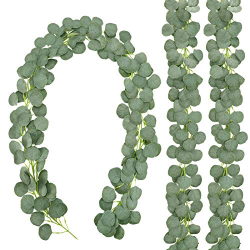 CEWOR 3 Packs Artificial Eucalyptus Garland Silk Eucalyptus Leaves Vines Faux Silver Dollar Greenery Eucalyptus Plants for Wedding Party Home Decoration