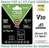 128GB Micro SD Card Plus Adapter - Amplim V30 A1 100MB/s 667X MicroSDXC Memory Card Pack 128 GB (Class 10 U3 UHS I XC) MicroSD Card 128G SDXC TF Card - Cell Phone, Nintendo, Camera, GoPro, Fire, DJI