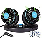 12V Car Fan with 360 Degrees Rotatable and 2 Speed, Dual Heads Design Car Fan Cooling That Plugs into Cigarette Lighter Low Noise Strong Wind for Vehicle Car Truck SUV RV ATV Boat