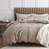 Bedsure 100% Cotton Waffle Weave Duvet Cover Set Full/Queen Size, 3 Pieces Luxury Comforter Cover, Solid Color Soft and Breathable Bedding Sets for All Seasons, Khaki