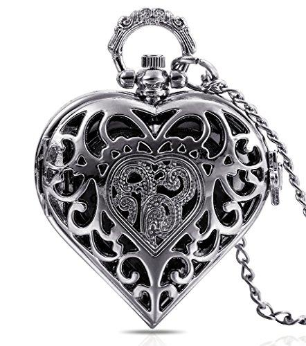 Infinite U - Ciondolo a forma di cuore, da donna/ragazza, per custodire un orologio da tasca, con collana lunga in argento, prodotto fornito in dotazione con borsa-regalo