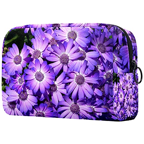 Bolsa de Maquillaje Grande con Cremallera, Organizador de cosméticos de Viaje para Mujeres y niñas - Primavera Flor púrpura Flor