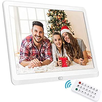 10 Inch Digital Picture Frame, NAPATEK Digital Photo Frame 16:9 1920x1080 IPS Display 1080P FHD Video Playback Music Calendar Alarm Remote Control Support 128G SD-White