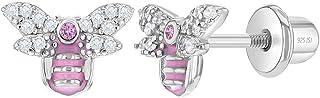 925 Sterling Silver Cubic Zirconia & Enamel Bubble Bee Earrings for Little Girls