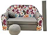 Pro Cosmo - A33 -Canapé-lit - pour Enfants - avec Pouf, Repose-Pieds, Oreiller - en Tissu - Multicolore - 168x 98x 60cm