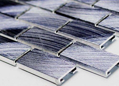 Rete mosaico mosaico piastrelle Brick alluminio tinta unita, colore: nero metallo parete parete cucina bagno WC