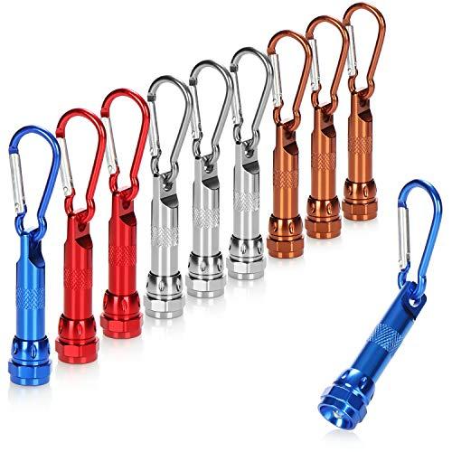 com-four® 10x LED-Mini-Taschenlampe, mit Karabinerhaken als Schlüsselanhänger, ideal für Schule, Sport, Freizeit, Camping, Outdoors (10 Stück - LED-Anhänger)