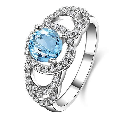AnazoZ Anillos Mujer Compromiso,Anillo Plata Mujer 925 Redondo 6.5MM Topacio Azul Blanco Anillos Plata Piedra Azul Talla 22