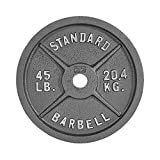 WF Athletic Supply Traditional/Classic 2-Inch Hole Solid Cast Iron Olympic Barbell Weight Plates - Great for Strength Training, Weightlifting, Bodybuilding & Powerlifting, Multiple Choices Available