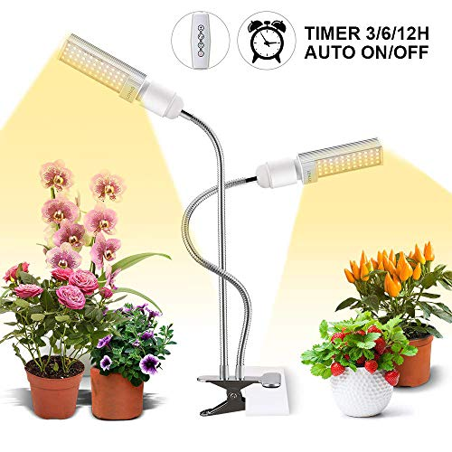 LED Grow Light for Indoor Plant, 45W Sunlike Full Spectrum Plant Light, Dual Head Gooseneck Grow Lamp with Replaceable and...