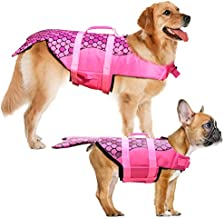 Dog Life Jacket - Mermaid Hot Pink, Portable Dog Swimming Jacket Vest, Lifesaver Vests with Rescue Handle for Small Medium and Large Dogs, Pet Safety Swimsuit Preserver for Swimming, Beach Boating(S)