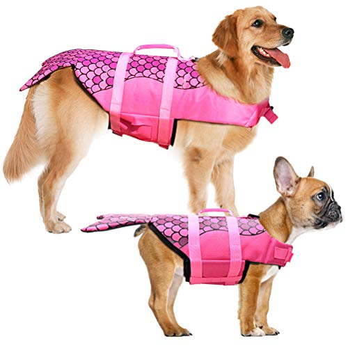 Dog Life Jacket - Mermaid Hot Pink, Portable Dog Swimming Jacket Vest, Lifesaver Vests with Rescue Handle for Small Medium and Large Dogs, Pet Safety Swimsuit Preserver for Swimming, Beach Boating(L)