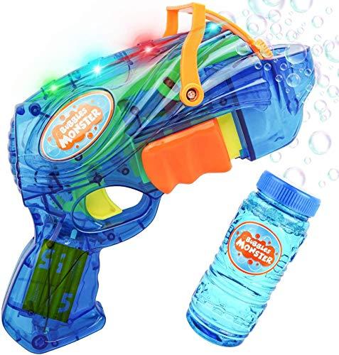 AOLUXLM Kinder Spielzeug ab 1 Jahr Draußen Innen für Jungen und Mädchen, LED Seifenblasenpistole Seifenblasenmachine Pistole Garten, Bubble Gun mit 130 ML Flüssigkeit Nachfüllflasche